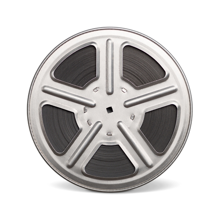 35 mm: Movie film reel (35 mm) isolated on a white background. Stock Photo