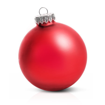 Red christmas ball isolated over a white background.