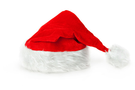 Traditional Santa Claus hat isolated on white