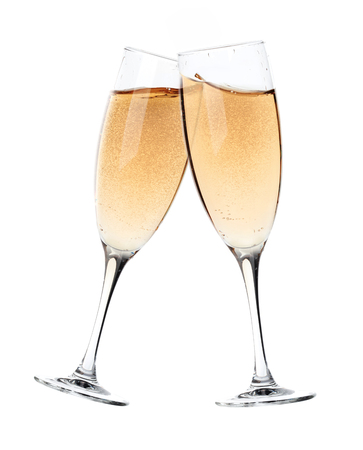 Two glasses of champagne toasting to celebrate. Cut out over a white background.