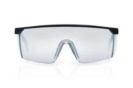 Goggles or Safety Glasses. Protective workwear to protect human eyes. Single object isolated over a white background.