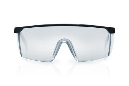 Schutzbrille oder Schutzbrille . Schutzkleidung , um menschliche Augen zu schützen . Einzelnes Objekt über einem weißen Hintergrund isoliert Standard-Bild