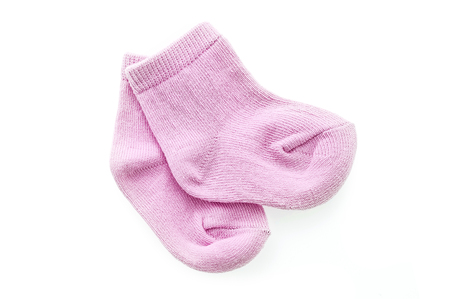 Pair of pink baby girl socks isolated over a white background Archivio Fotografico