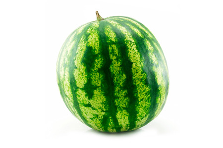 Single isolated watermelon over a white background. Healthy fruit snack.