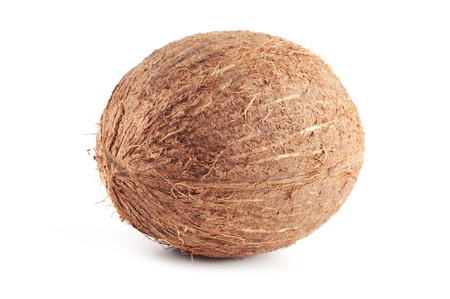 Single coconut isolated over a white background.