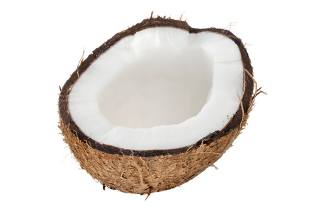 Coconut half open isolated over a white background.