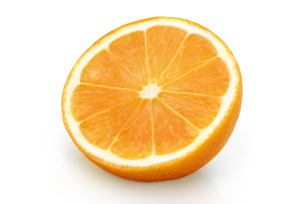 Sliced half part of an orange over a white background.