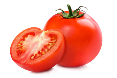 Sliced tomato half, isolated over a white background.