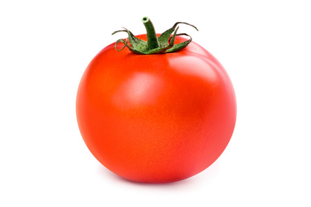 Single tomato isolated over a white background.