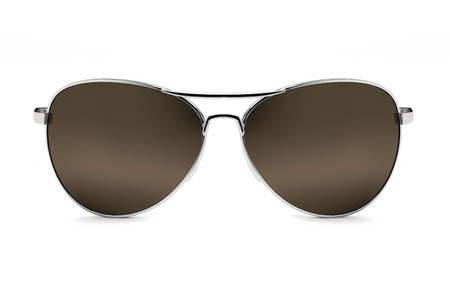 Pair of dark brown sunglasses isolated over a white background.