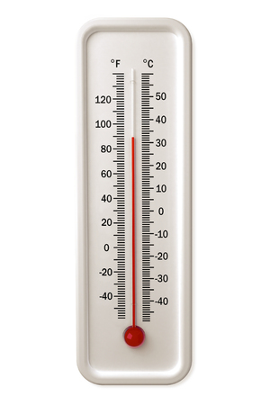 Thermometer with red indicator isolated over a white background.