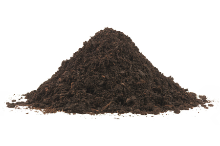 Pile heap soil humus isolated over a white background. Archivio Fotografico