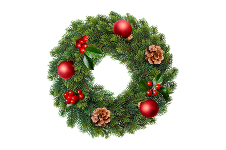 Green christmas wreath decorated garland isolated over a white background.