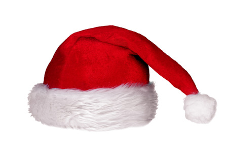 Red Santa Claus hat isolated over a white background. Christmas accessory.