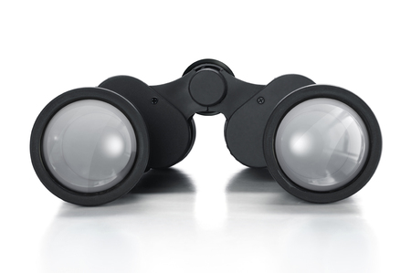 Pair of binoculars over a white background.