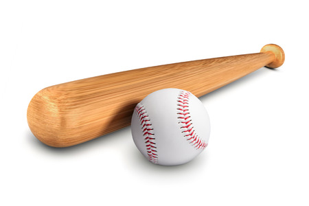 Baseball bat and ball isolated over a white background. Archivio Fotografico