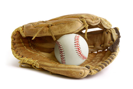 Baseball glove or mitt isolated over a white background. Archivio Fotografico