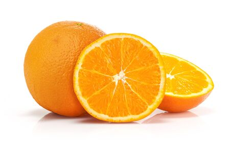 Sliced oranges isolated over a white background.