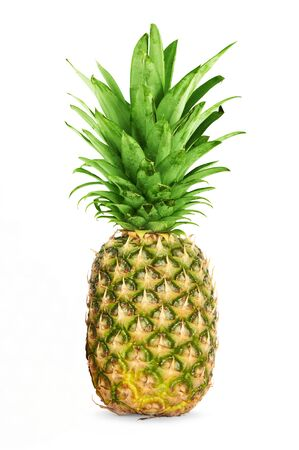Single pineapple isolated over a white background.