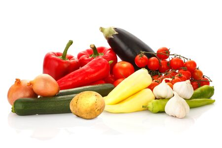 Various vegetables together isolated on a white background.