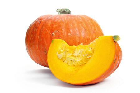 Slice of a pumpkin, isolated over a white background. Reklamní fotografie