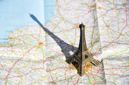 Eiffel tower on a map photo