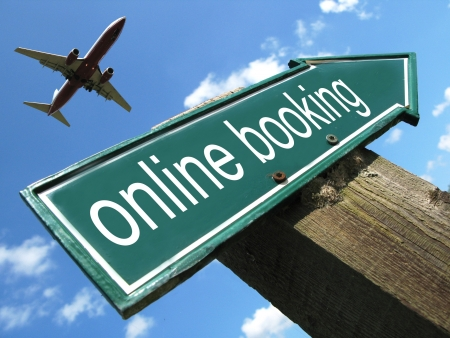 ONLINE BOOKING road sign photo