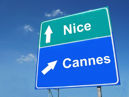 nice  france: NICE--CANNES road sign Stock Photo