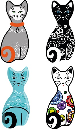 stylized, decorative, vector cat in different variants on a white background Фото со стока - 19419075