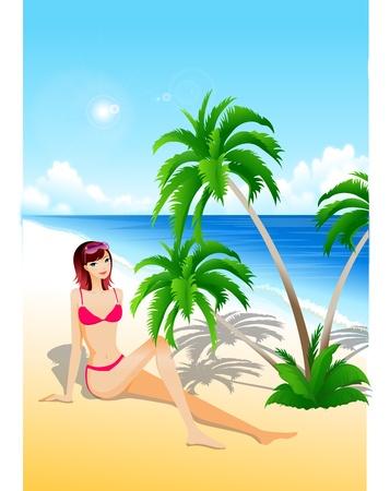 vector beach girl