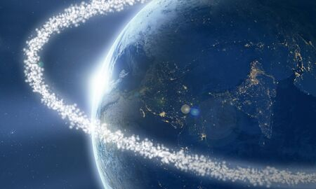 Space junk around Earth viewed from the space Stock Photo