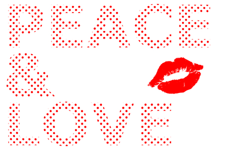 Peace and love written in red dot and kiss