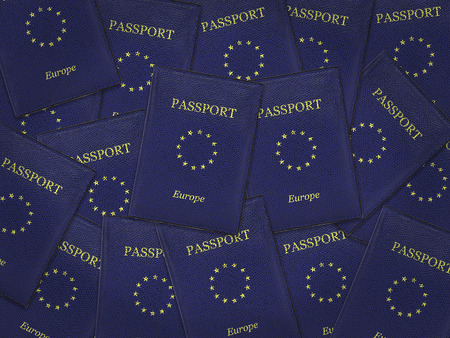 Many European Union Passports with blue cover