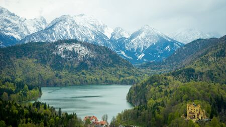 ludwig: View from Neuschwanstein, with Hohenschwangau Castle seen on the bottom right of image