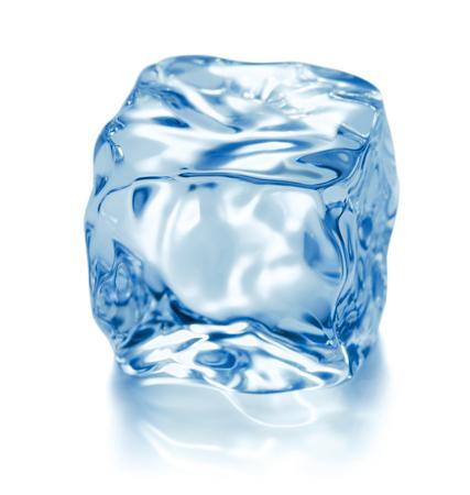 Single cube of ice isolated on white background