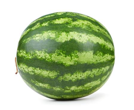 single whole watermelon isolated on white background