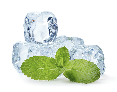 heap of blue ice cubes with mint leaves isolated on white background