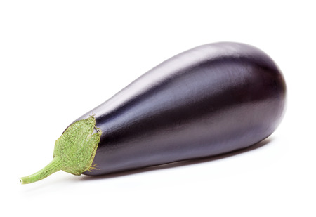 single ripe purple eggplant isolated on white background