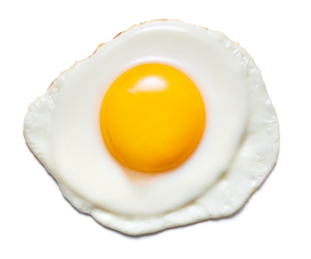 single fried egg isolated on white background Foto de archivo - 111466028