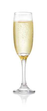 single glass of champagne with air bubbles isolated on white background Stockfoto
