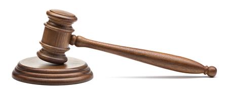 wooden judge gavel isolated on white background