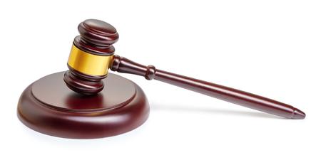 wooden judge gavel isolated on white background Standard-Bild