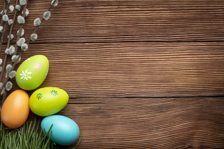 easter decoration on wooden background with copy space
