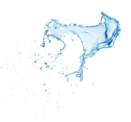 Salpicaduras de agua azul limpia aislado sobre fondo blanco. Foto de archivo