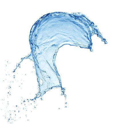 sauberes blaues Wasserspritzen lokalisiert auf weißem Hintergrund Standard-Bild
