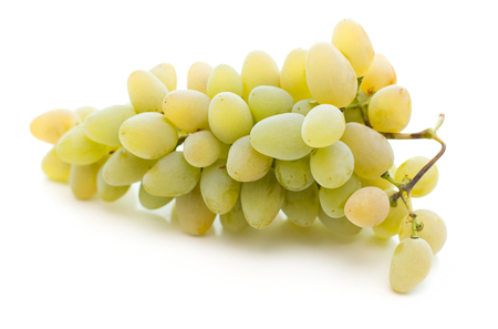 close-up view of bunch of ripe white grapes isolated on white background
