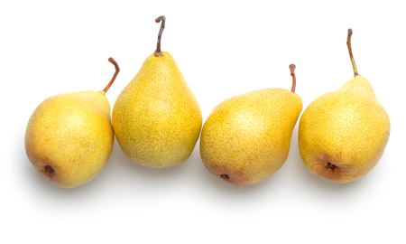 pile of ripe yellow pears isolated on white background