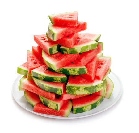 heap of ripe watermelon slices isolated on white background