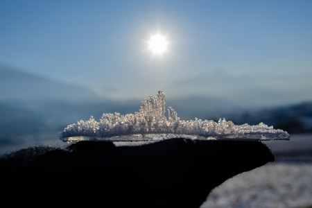 Ice crystals on a ice plate forming a skyline.