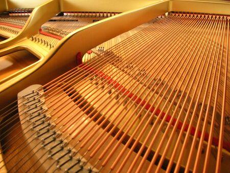 ピアノの蓋の下 写真素材